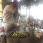 Joe making an onion volcano