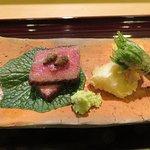 A5 Wagyu filet mignon, bamboo shoot and seasonal vegetable tempura