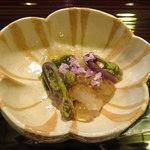 Mirugai in seafood aspic and Japanese vegetable