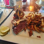 Hot pastrami on rye - with swiss, cole slaw and beer mustard. Yum!