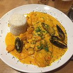 Typical fish and meat dishes with yellow curry..  I e flavour not hot at all.