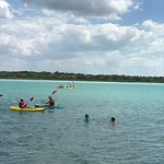 Kayaking and swimming in the lagoon