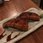 Unagi Nigiri: Grilled Eel nigiri with Japanese sansho sauce