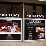Some Morton's items displayed in sidewalk window