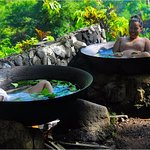 Best way to end the adventure packed day - sitting and relaxing in giant kawa hot tubs