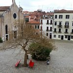 The square from the window, a restaurant either side, the church where Antonio Vivaldi was bapti