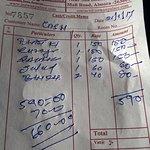 restaurant cheque