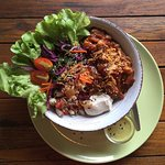 Vegan gluten free BBQ jack fruit bowl with cashew cheese and sweet potatoes