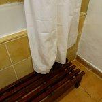 Mildew on shower curtain, wooden step slippery