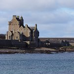 Ackergill Tower from nearby jetty