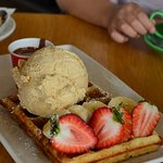 Strawberries, waffle and salted caramel ice cream