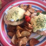 Smoked salmon benedict with homemade sauce and arepa!! Delicious.