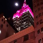 View of Empire Ste Building from our room - lit up pink for International Womens Day