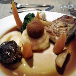 Pork belly with pork cheek and black pudding.