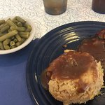 Special was meatloaf &a gravy w/ potato filling. Turkey club Quaint 50's style diner