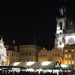 Old Town Sq & Church of Our Lady at night