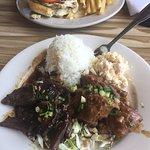 Adobo chicken and kalbi ribs soooo good!