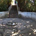 Water stairs, water runs in hand rail