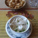 Won Ton Soup and crispy chips
