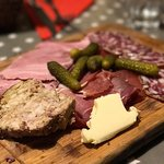 the charcuterie board was wonderful - the terrine is made in house and we were fighting over it