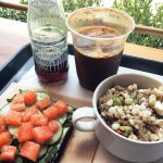 Cured salmon toast, seasonal grains with feta and asparagus. Iced espresso + Dr. Pepper (MAGIC)!