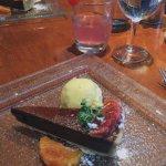 Dark chocolate marmalade tart