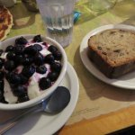 yogurt, berries and granola with banana bread