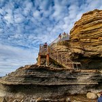 Sunset Cliffs stairs to tide pools in Ocean Beach San Diego