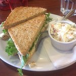 Shrimp salad sandwich on chipmunk bread