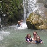 Note in the background, my two boys are about to enter a cave behind the waterfall