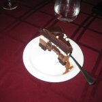 The chef's choice of dessert which was a deliciously decadent multilayer creamy, chocolate treat