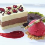 Belgian Dark & White Chocolate Delice with Raspberry Sorbet