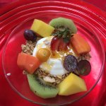 Breakfast :yogurt, fruit, granola