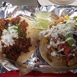 Chorizo taco and Chicken fajita taco