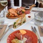 The antipasto platter and stuffed zucchini flowers