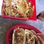 Shrimp Tacos, onion rings and Nachos--Awesome!