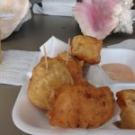 Conch fritters and mango juice