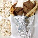Gyro lunch special with pasta salad.