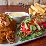 Cluckin' Chicken with Grilled Prawns