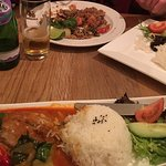 Chilli Beef with Basil and Sea Bass with Red Curry