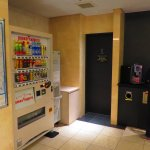 Lobby with ice dispenser, vending machine and free brewed coffee.