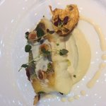 Cod served with jerusalem artichokes, hazelnuts and bagna cauda from piemonte