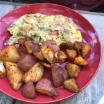 seafood omelette and roasted potatoes
