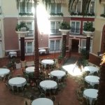 The catered dining area with rooms overlooking the courtyard.