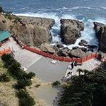 神社を見下ろしたところ。本殿は左側の岩の影にあります