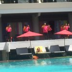 Pool and Staff Announcing Happy Hour