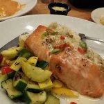 Crab stuffed salmon with veggies and mash potatoes