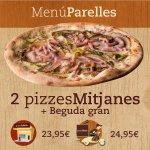 Menu Parelles: 2 pizzas medianas y una bebida grande.
