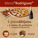 Menu Rodríguez: 1 pizza mediana, una ración de alitas de pollo y una botella de lambrusco.