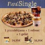 Menu Single: 1 pizza mediana, 1 refresco y 1 helado.